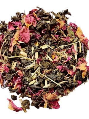 stress relief tea with rose petals